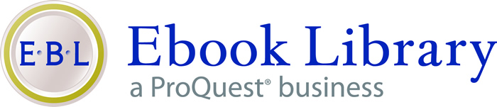 Ebook Library logo - blue EBL in a yellow circle