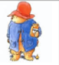 Paddington Bear in a blue coat and red hat